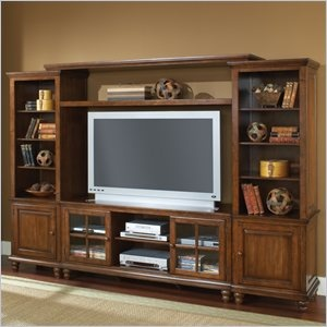 Hillsdale Grand Bay Large Entertainment Wall in Warm Brown - Transitionally designed to blend easily into both contemporary and traditional décor, the Grand Bay entertainment unit is available for your home. It is constructed of solid wood with veneers and the back features knockouts for easy cable management. The Grand Bay console is the foundation for this piece and offers two glass front cabinets with adjustable shelves for storing your electronics, game systems, DVDs and CDs. The side…
