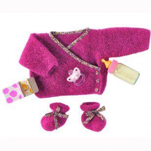 Kit de tricot cache-cœur et chaussons rose - Marie Claire Idées