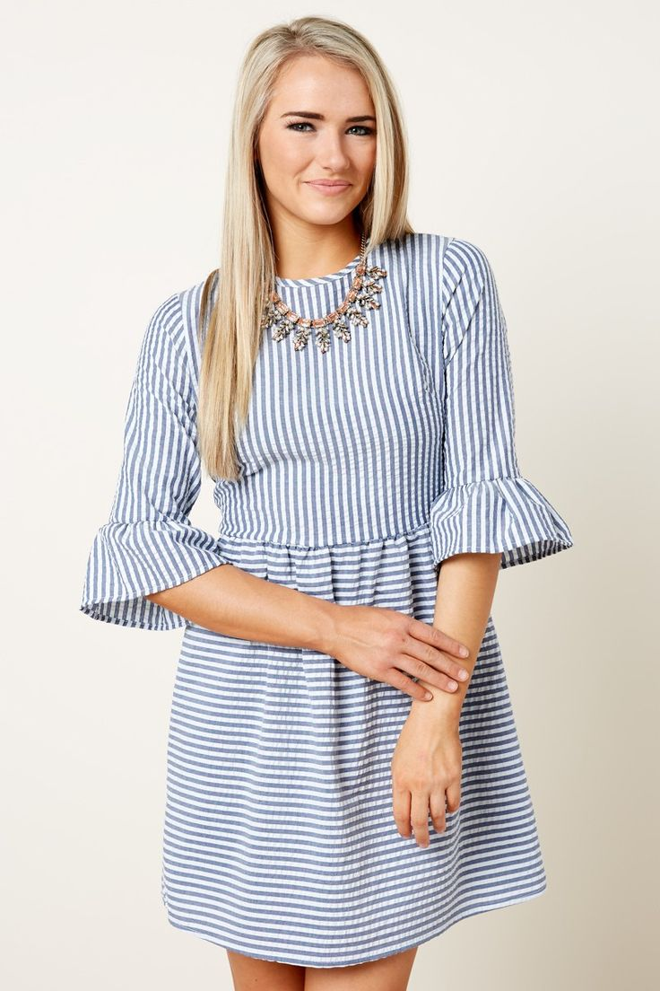 Cute Striped Dress - Seersucker Dress - Ruffle Sleeve Dress - $39.00
