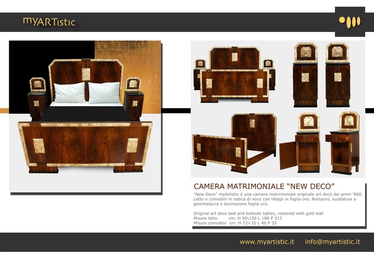 Original art decò bed and bedside tables, restored with gold leaf. By Atelier myArtistic www.myartistic.it