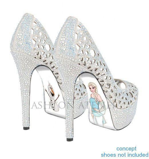 Custom hand painted Snow Queen high heels by AshtonAtelier on Etsy, $65.00