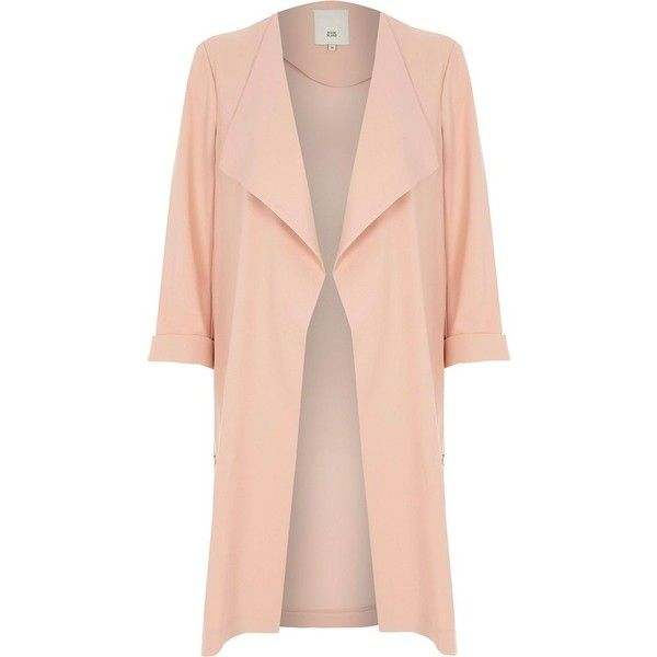River Island Light pink fallaway duster coat ($120) ❤ liked on Polyvore featuring outerwear, coats, coats / jackets, jackets, pink, women, light pink coat, long sleeve coat, duster coats and river island coats