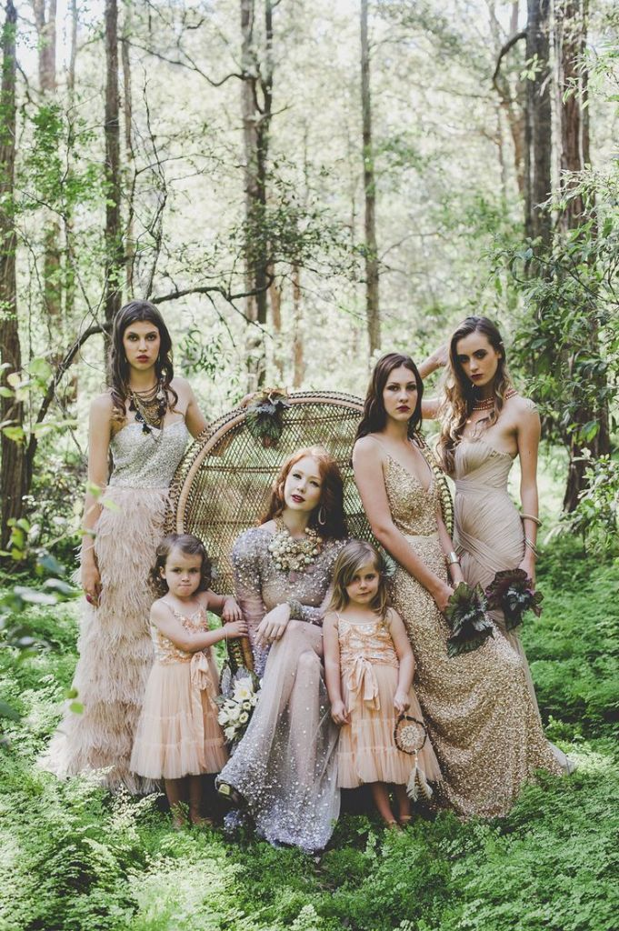 Whimsical-Bohemian Vintage Bridesmaid Dresses and Wedding Dress