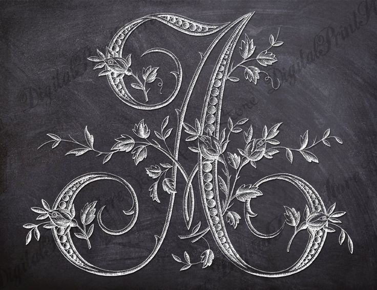 French Rose Alphabet Chalkboard Letter A 001 Monogram Initial Embroidery Pattern Commercial Use by DigitalPrintStore on Etsy