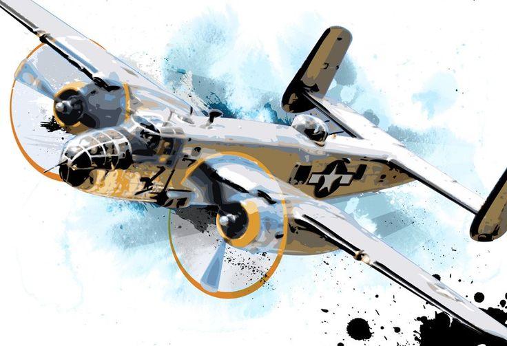 Airplane B25 Bomber Canvas Art Print Airplane Decor