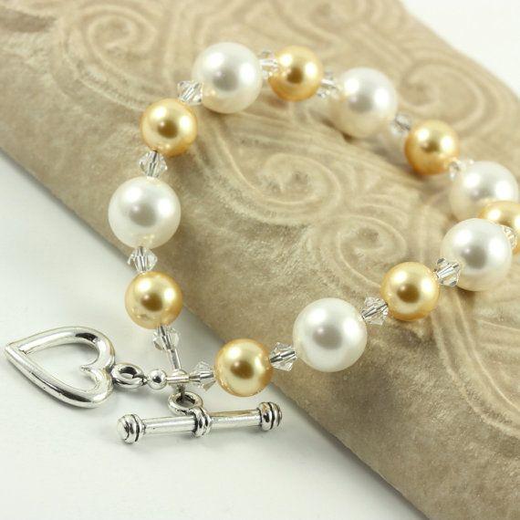 Yellow Gold White Bracelet Pastel Pearl