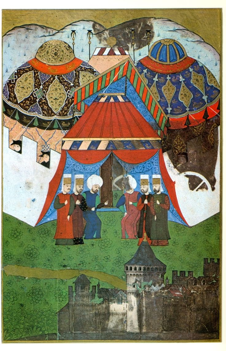 Selim II is waiting for the body of Suleiman I in Belgrade, Turkish miniature, 16th century, 29.7 × 19.5 cm (11.7 × 7.7 in), Topkapi Palace Museum