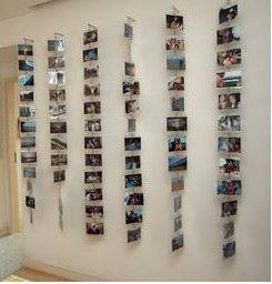 Ideia engraçada para pendurar fotos ou postais na parede do hall