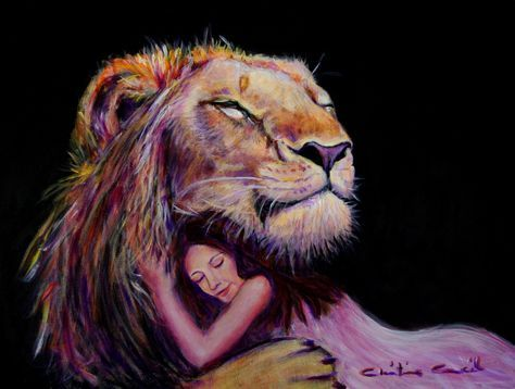 Lion of Judah hugging woman. This artist has a heart for God that comes through beautifully in her paintings! Fear Not. Prophetic art.