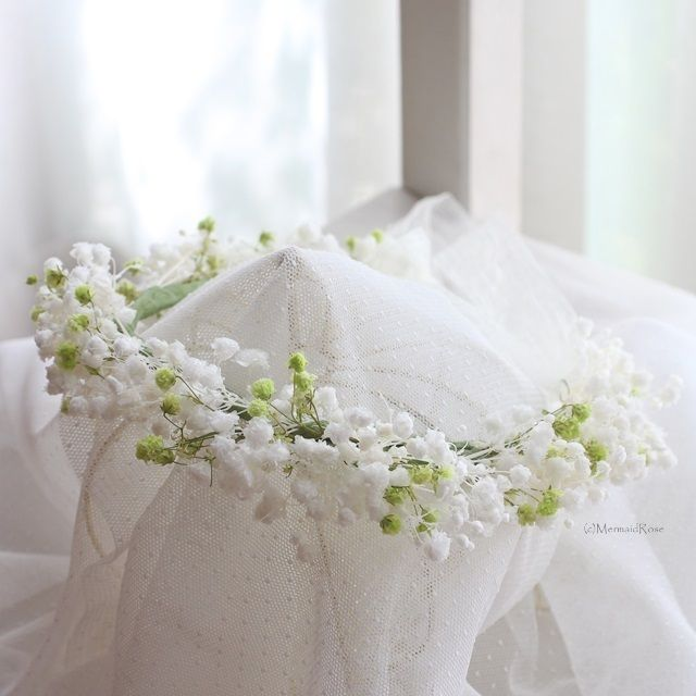 花かんむりカスミソウオーバータイムM(ホワイト&グリーンミックス)*リボン | マーメイドローズ*uchi-soto wreath