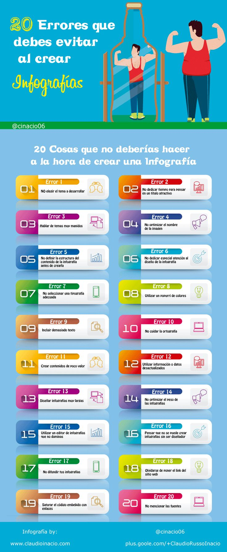 20 Errores a evitar cuándo creas tus infografías #infografia #infographic #design | TICs y Formación