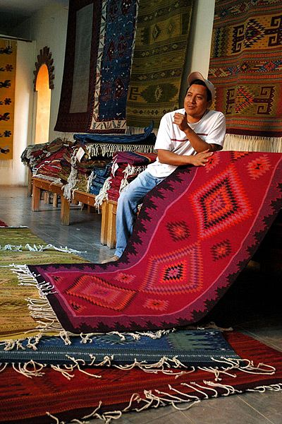 Cochineal-dyed wool rug, Oaxacan highlands.  Oaxacan rugs are some of the finest examples of weaving that exists today!