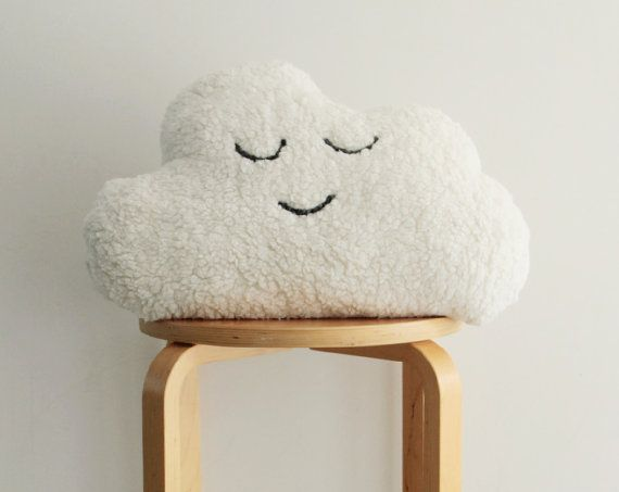 + This listing is for a cozy cloud plush pillow. Handmade in cloud shape from a soft sheepskin-like fleece fabric. A huggable modern decorative pillow