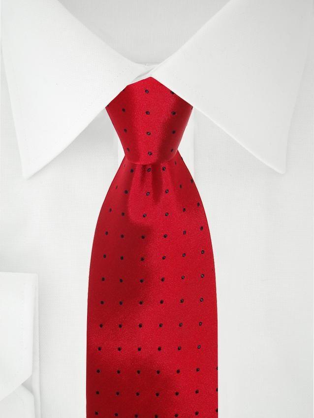 Rote Krawatte mit Punkten