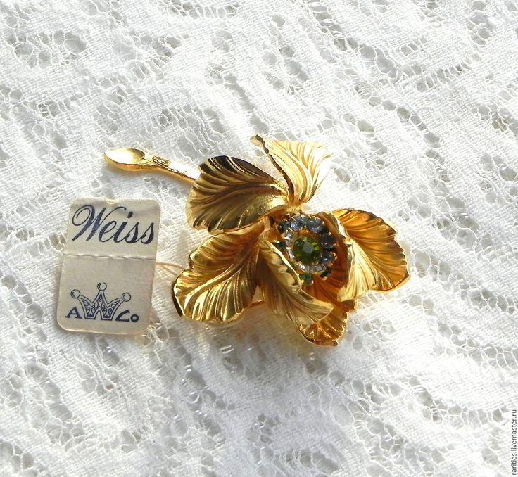 Купить Брошь Золотой цветок,Weiss,США,бирка,клеймо,цветы,цветочек,антиквариат