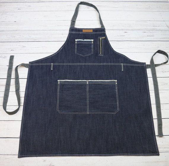 PREMIUM Blue Denim Barista Apron| Bartender Apron | Denim Bib Apron | Jeans Apron |BBQ Apron - U331S