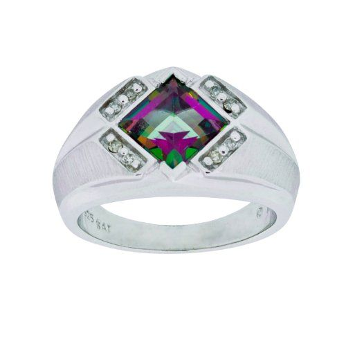 Men's Sterling Silver Mystic Fire Topaz and Diamond Gents Ring - Click for more info...