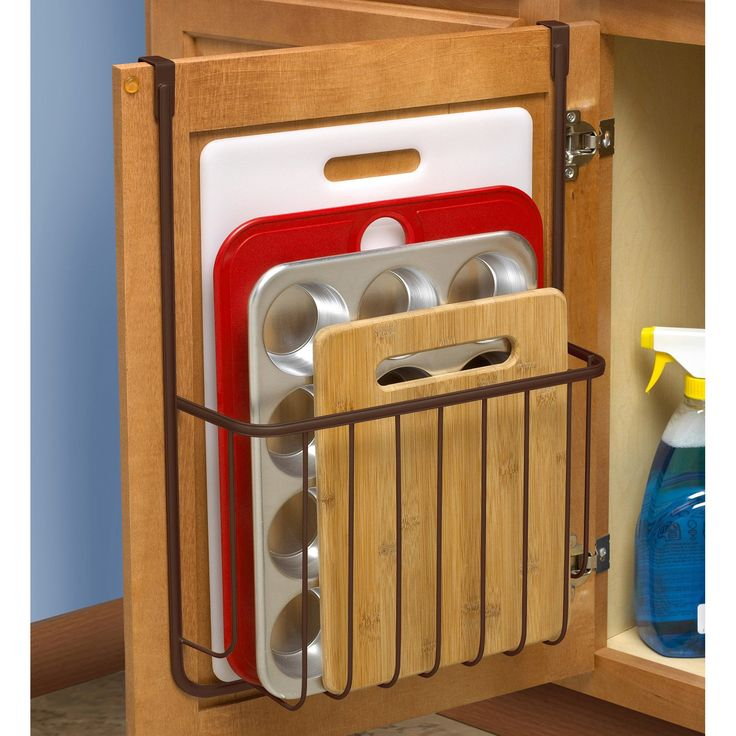 Over the Cabinet Cutting Board and Bakeware Holder Cabinet Door Organizer Find out more about update kitchen cabinets Update Kitchen Cabinets, Kitchen Cabinet Hardware, Kitchen Cabinet Design, Interior Design Kitchen, Cabinet Doors, Kitchen Cabinet Accessories, How To Organise Kitchen Cabinets, Kitchen Designs, Lining Kitchen Cabinets