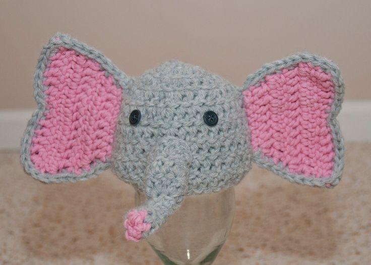 Knitting Pattern For Elephant Hat : knitted elephant hat Elephant baby hat Crochet/Knitting/Crafts Design i...