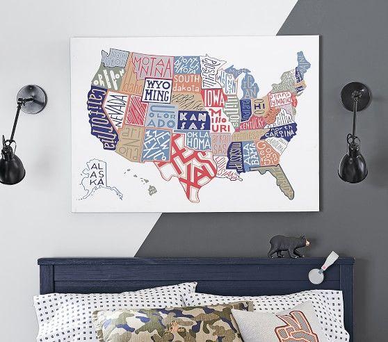 USA Map Canvas Art in 2019 | William draperies | Canvas art ...