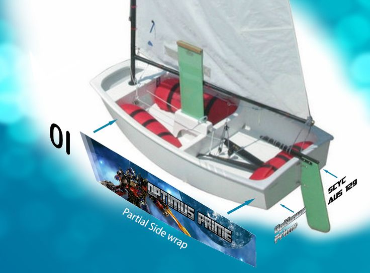 OptiWraps    Optimist Sailing Dinghy Graphics    Partial wrap    Customize your Opti!