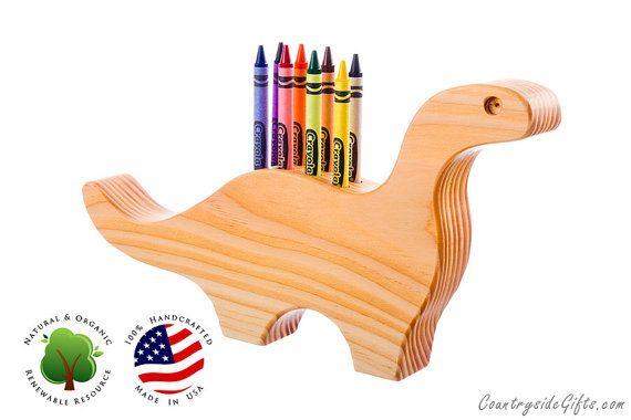 Crayon Holder - Wooden Dinosaur Crayon Holder - Handcrafted Natural and Organic Wood Crayon Holder - Wooden Crayon Holder for 8 Crayons