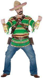 Hommes Mexicain Tequila Sombrero, Poncho, Bouteille Holster & Verres À Liqueur Far West Enterrement De Vie De Garçon Costume Déguisement –…