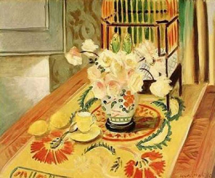 Yellow Roses with Cage of Parakeets - Henri Matisse 1924 French 1869-1954 Oil on canvas