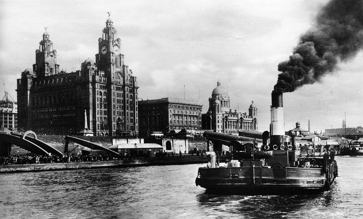 The 'Three Graces' of Liverpool. The Cunard Building, together with the Liver Building and Port of Liverpool Dock Office.