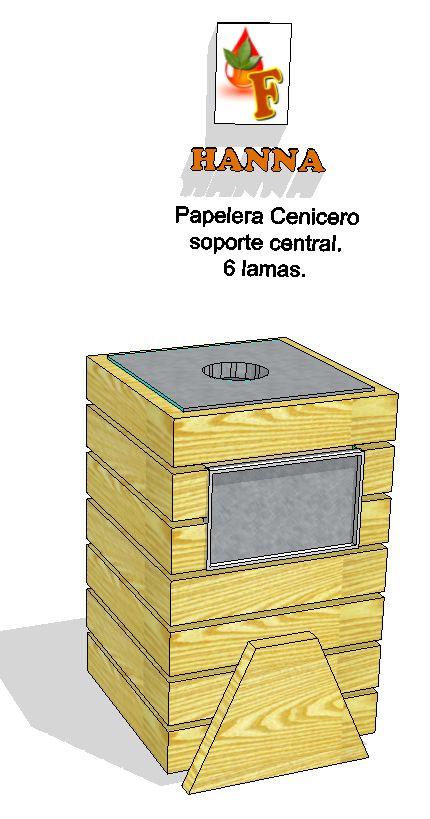 """Papelera con cenicero línea Hanna, de 7 lamas y soporte lateral trapezoidal, construída en madera maciza de """"Fesno Europeo"""", terminación """"Fresno natural"""", """"Fresno Europeo"""", """"Fresno americano"""", o terminada en lacado de varios tonos y colores según nuestro muestrario. Compuerta de acero inoxidable en 2 lados opuestos. Cenicero de acero inoxidable desmontable en lado superior. Acceso a la caja de tablero marino para el montaje de la bolsa papelera. Lamas en piezas de 14 cm x 5cm de espesor…"""