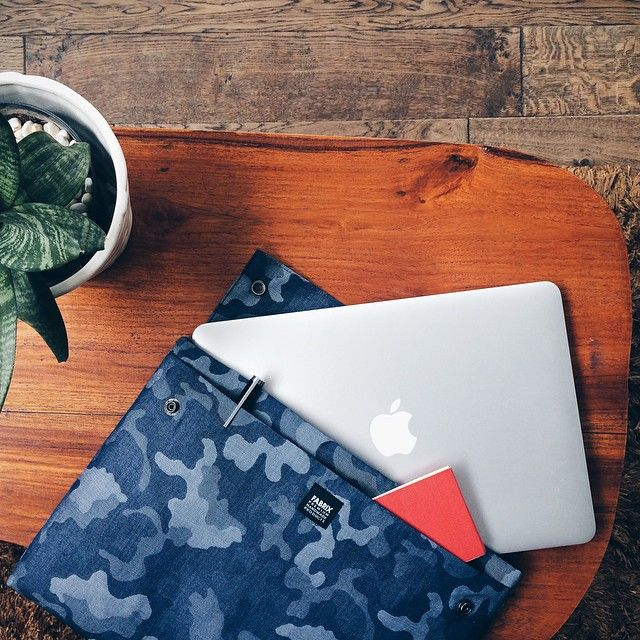 """The @madebyfabrix Camo Couture folio case that comes with water resistant nylon quilted paddings give that extra layer of protection for your 13"""" laptop and other important documents when you are on the go. Shop now at the Assembly Store. (Photo credits: @madebyfabrix) #theassemblystore #madebyfabrix #fashion #style #foliocase #camo #acccessories"""