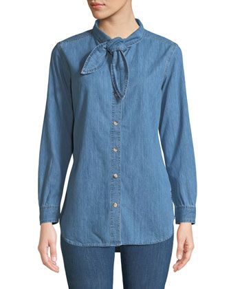 Booker+Tie-Neck+Button-Front+Long-Sleeve+Chambray+Shirt+by+MiH+at+Neiman+Marcus.
