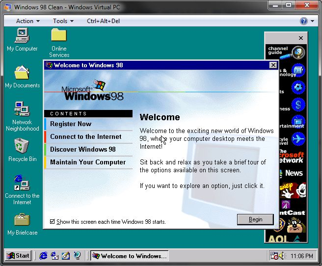 Using Virtual PC to run Windows 98 on Windows 7.