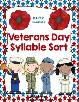 This is an ELA CCSS Aligned Syllable Sort Activity for Veterans Day. Students will sort the Picture/Word Cards under category cards of 1, 2, 3, and 4 syllable words. Then they will write their words on their recording sheet.You may also like:Veterans are Special PeopleVeterans Day Reading and Writing Unit