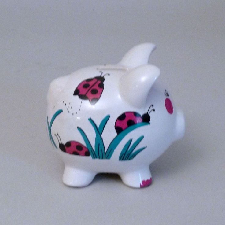 Small Ladybug Piggy Bank Is Hand Painted In Your Choice Of