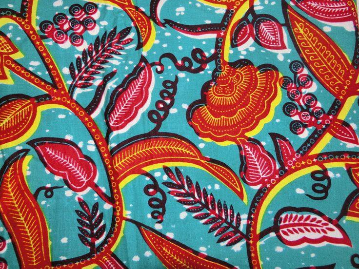 afrikanischer Batik-Stoff - Ranken bunt von Perlen.Schmuck.Edles auf DaWanda.com