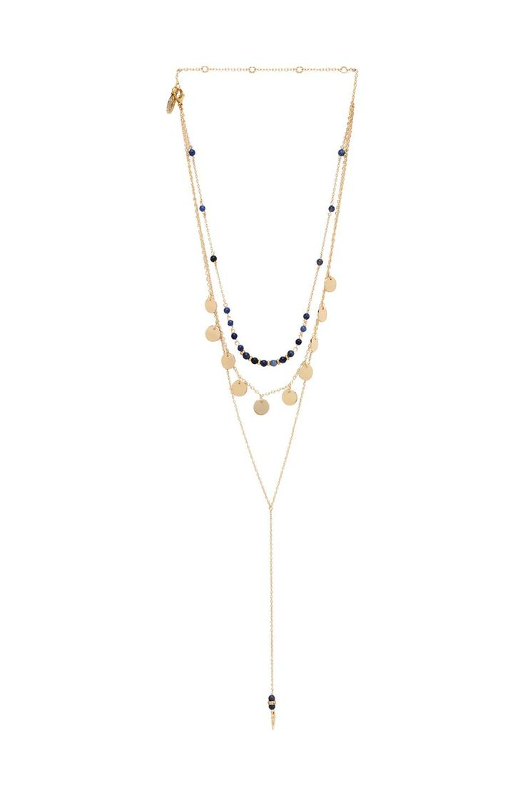 Ettika Layered Beaded Disc lariat Necklace in Metallic Gold 4N2lWNJbfd