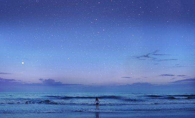 Ocean night sky  Creative portrait photography by Sarah Haley Stewart