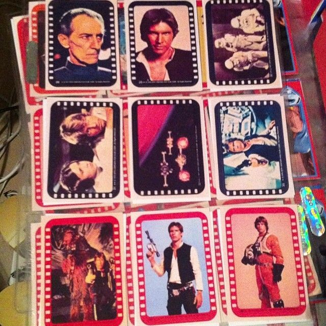 Vintage Star Wars Topps stickers I remade last year #starwars #harrisonford #hansolo #vintagestarwars #moviecards #swapcards #tradingcards #graphics #scifi #topps #lukeskywalker #stormtroopers #episode4 #episodeiv