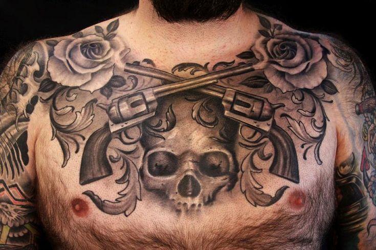 Skulls And Guns Tattoos: +1000 Ideias Sobre Tatuagens De Touro No Pinterest