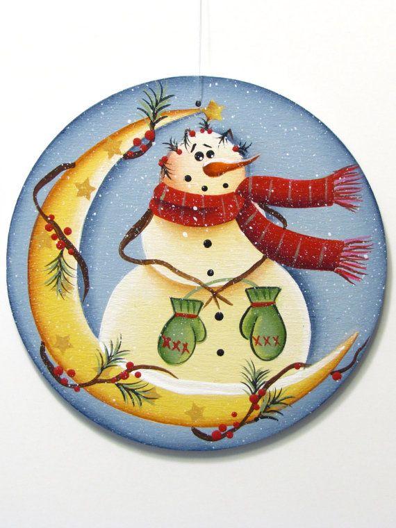 Muñeco de nieve en luna redonda ornamento madera por ToleTreasures