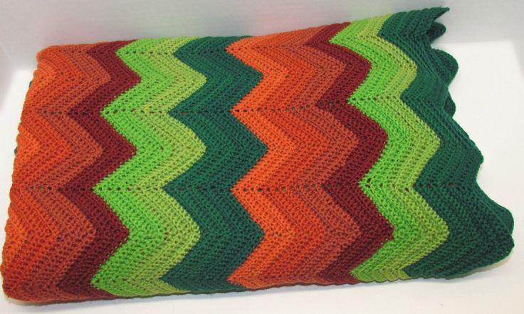 Vintage Chevron Afghan, Single Crochet in Shades of Green and Orange/Rust, Couch Sofa Throw, Lap Robe, Warm Snuggly Coverlet by GrammysGoodys on Etsy