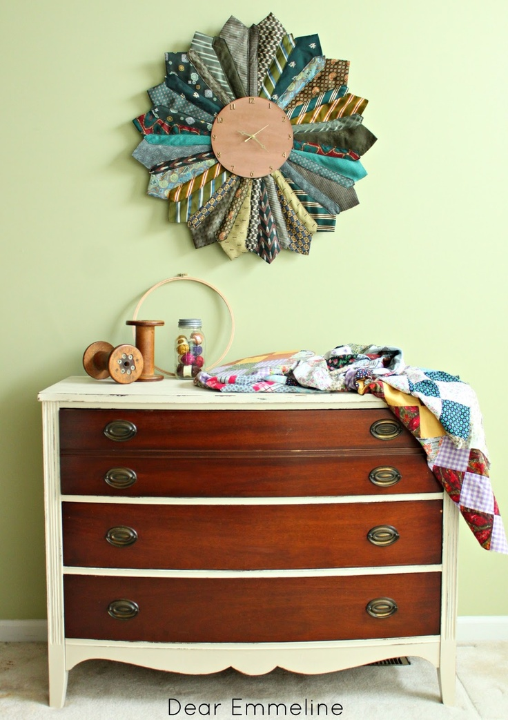 recycled necktie sunburst clock - love the colors!