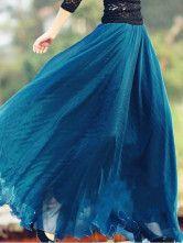 Chic jupe bohémienne en mousseline de soie bleu royal à volants