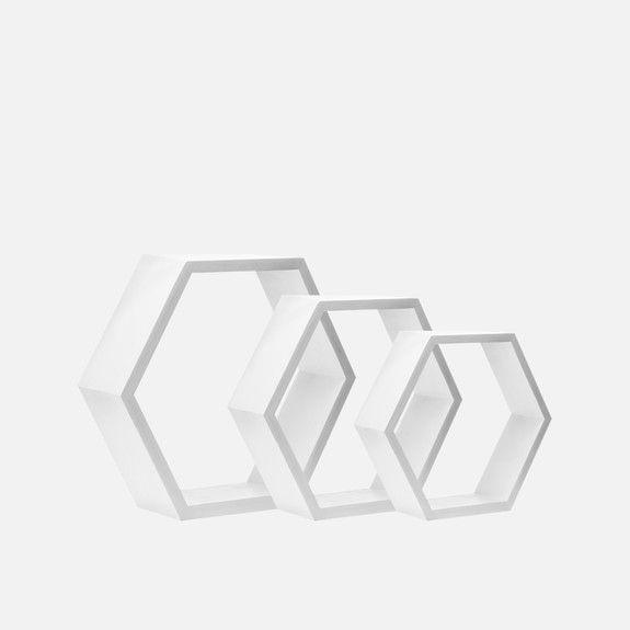 B&K Design and Decor - Hexagon Shelf Set of 3 White