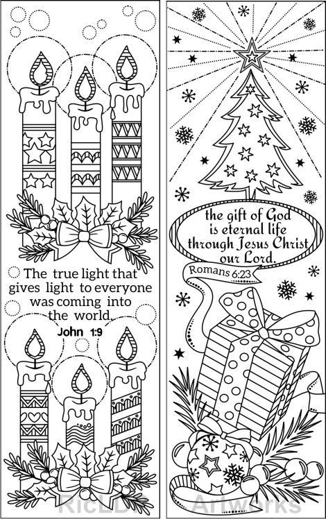 Set Of 8 Christmas Coloring Bookmarks With Bible Verses Christian
