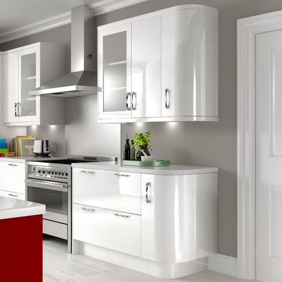 High Gloss White kitchen from B - rounded surfaces / cupboards