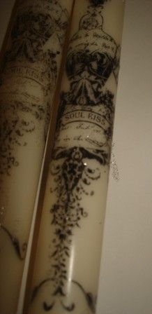 Hand Stamped Candles  French Mannequine   Set by frenchcountry1908, $5.99
