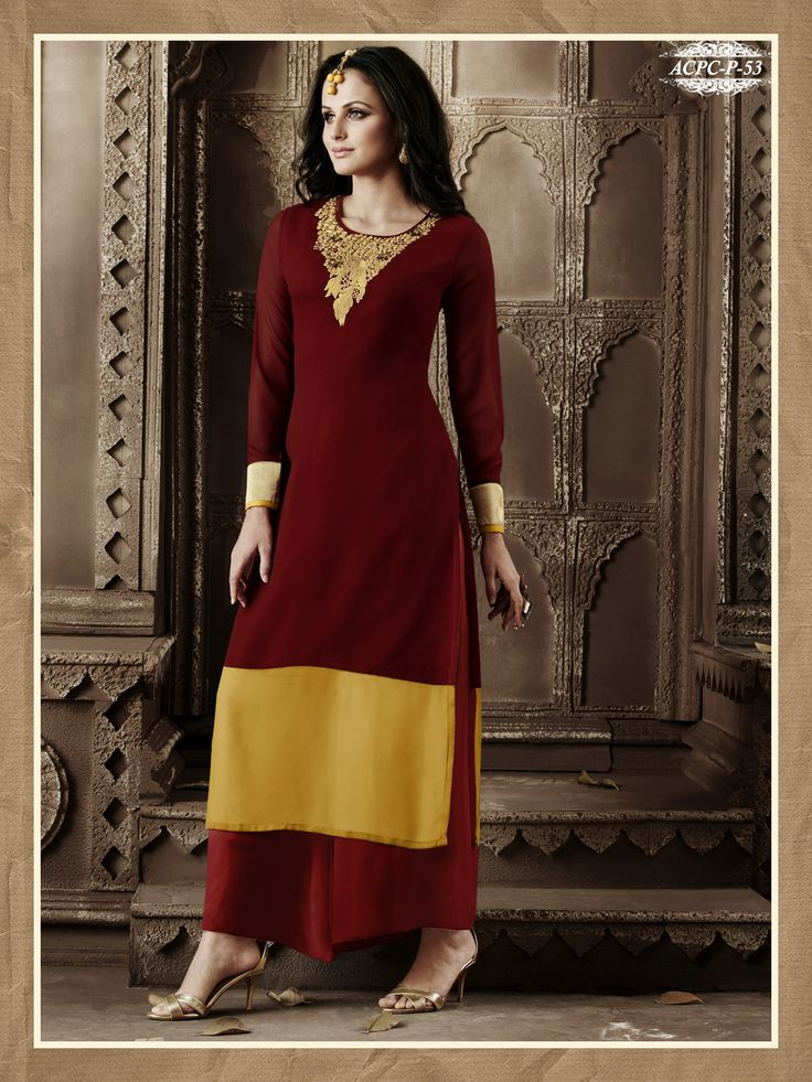 #Red & #Yellow #Colour #Embroidery #Georgette #Stitched #Kurti www.glamyshop.com