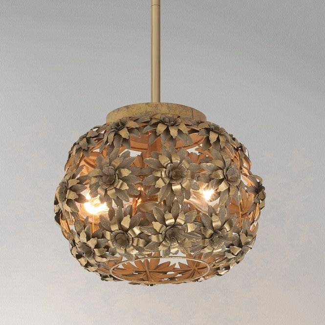 This Young House Love Metal Daisies Pendant Blooms In A Gold Metallic Wash Painted Finish This Cheerful Pendant Light Will Brighten Any Ceiling Lights Young House Love Vintage Chandelier